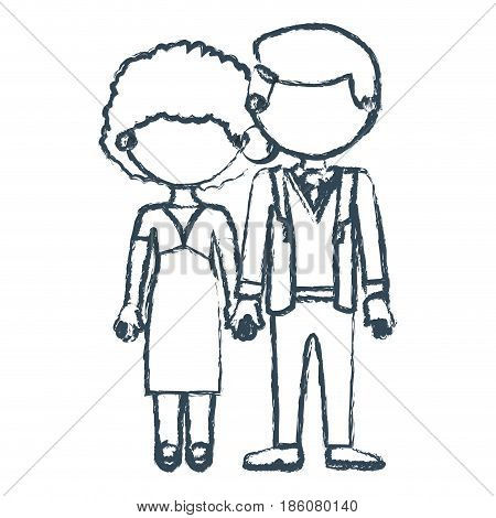 blurred blue contour faceless couple curly woman with dress and man in formal suit with taken hands vector illustration