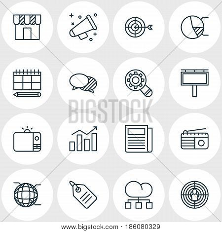 Vector Illustration Of 16 Social Icons. Editable Pack Of Television, Fm Broadcasting, Discussing And Other Elements.