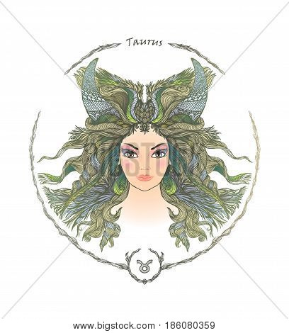 Zodiac sign. Hand drawn portrait of a beautiful woman. Vector illustration of Taurus zodiac sign.