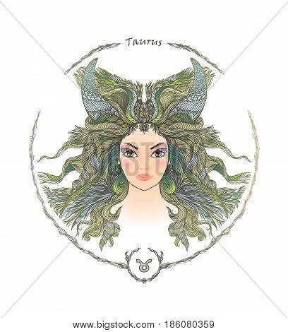Zodiac sign. Hand drawn portrait of a beautiful woman. Vector illustration of Taurus zodiac sign.