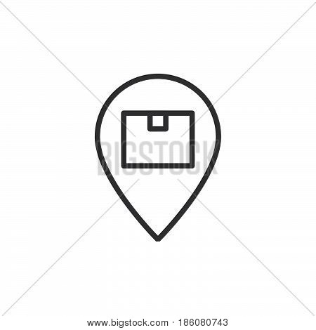 Parcel box on map pointer line icon outline vector sign linear style pictogram isolated on white. Package location symbol logo illustration. Editable stroke. Pixel perfect