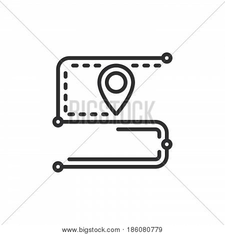 Track order route line icon outline vector sign linear style pictogram isolated on white. Symbol logo illustration. Editable stroke. Pixel perfect