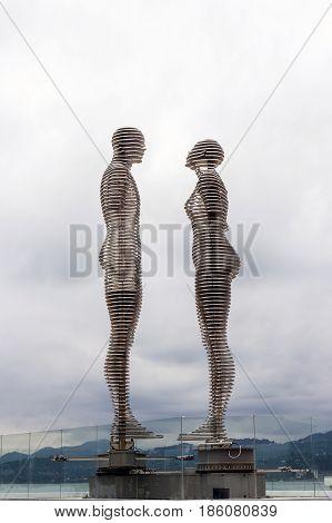 Moving Metal Statues Of Ali And Nino, By Tamar Kvesitadze, In Batumi, Georgia.