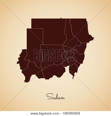 Sudan Region Map: Retro Style Brown Outline On Old Paper Background. Detailed Map Of Sudan Regions.