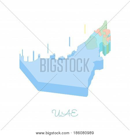 Uae Region Map: Colorful Isometric Top View. Detailed Map Of Uae Regions. Vector Illustration.