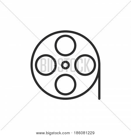 Film reel line icon outline vector sign linear style pictogram isolated on white. Symbol logo illustration. Editable stroke. Pixel perfect