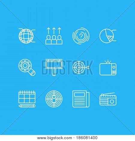 Vector Illustration Of 12 Marketing Icons. Editable Pack Of Network, Aiming, Advancement And Other Elements.