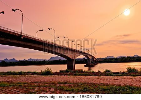 Third Thai - Lao Friendship Bridge at Sun rise time Nakhon Phanom Province Thailand