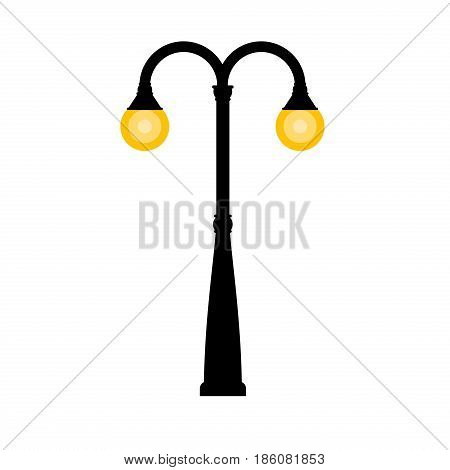 Vector vintage streetlight on white background. Outdoor retro lamp.