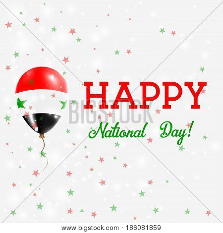 Syria National Day Patriotic Poster. Flying Rubber Balloon In Colors Of The Syrian Flag. Syria Natio