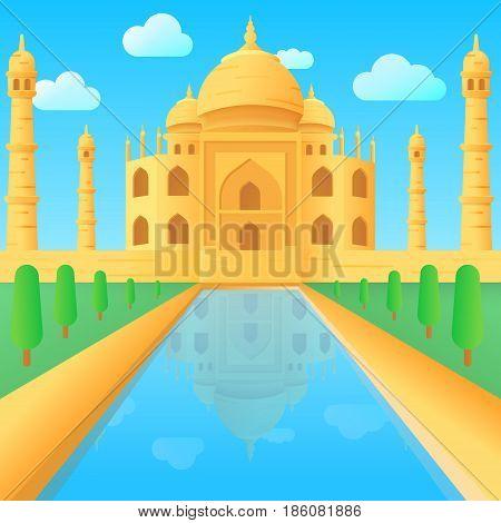 Taj Mahal temple illustration in India cartoon