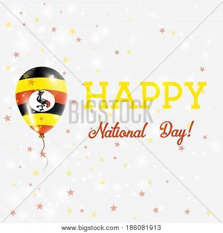 Uganda National Day Patriotic Poster. Flying Rubber Balloon In Colors Of The Ugandan Flag. Uganda Na