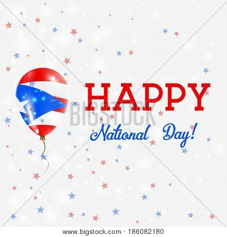Puerto Rico National Day Patriotic Poster. Flying Rubber Balloon In Colors Of The Puerto Rican Flag.