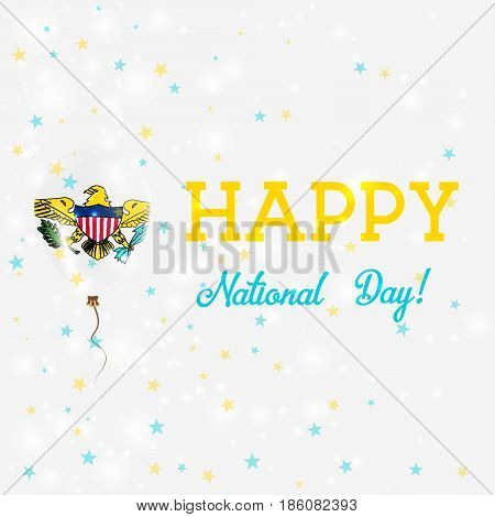 Virgin Islands (us) National Day Patriotic Poster. Flying Rubber Balloon In Colors Of The Virgin Isl