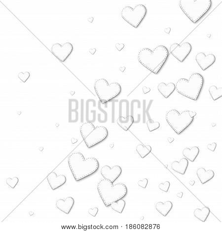 Cutout White Paper Hearts. Abstract Random Scatter With Cutout White Paper Hearts On White Backgroun