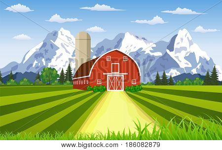 Cartoon farm Summer mountain landscape, red barn on a green hill, Farm flat landscape. Organic food concept for any design