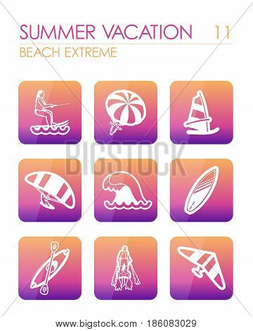 Extreme Water Sport beach outline vector icon set. Summer time. Vacation eps 10