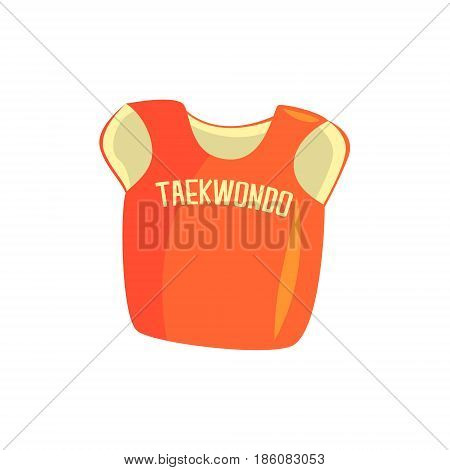 Chest guard protector, martial arts gear. Taekwondo sport equipment. Colorful cartoon vector Illustration isolated on a white background