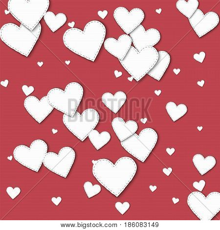 Random White Paper Hearts. Scattered Pattern With Random White Paper Hearts On Crimson Background. V
