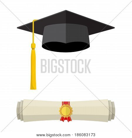 Graduation cap and rolled diploma scroll with stamp. Finish education concept. illustration in flat style isolated on white background.