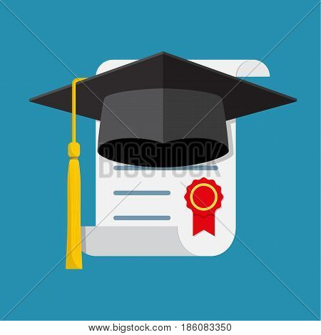 Graduation cap and diploma. Icon in a flat design . Vector illustration