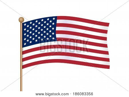 Waving american flag on pole. National symbol of United States of America USA with inclined gold stick. American flag isolated on white background. Vector illustration