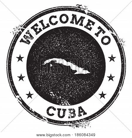 Vintage Passport Welcome Stamp With Cuba Map. Grunge Rubber Stamp With Welcome To Cuba Text, Vector