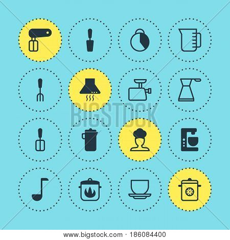 Vector Illustration Of 16 Restaurant Icons. Editable Pack Of Jug, Soup Spoon, Stewpot And Other Elements.