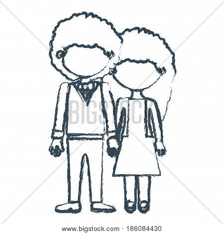 blurred blue contour faceless curly couple woman with dress and man with bowtie and taken hands vector illustration
