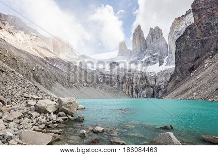 Las Torres peak at Torres del Paine National Park in Chile