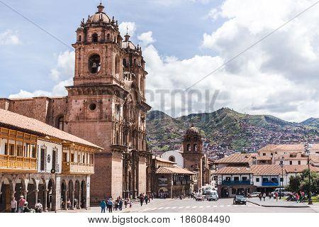 Bustling city of Cusco in Peru in daytime