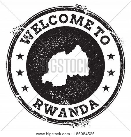 Vintage Passport Welcome Stamp With Rwanda Map. Grunge Rubber Stamp With Welcome To Rwanda Text, Vec