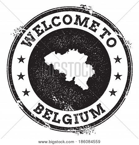 Vintage Passport Welcome Stamp With Belgium Map. Grunge Rubber Stamp With Welcome To Belgium Text, V