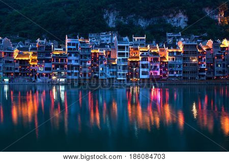 Zhenyuan Ancient Town on Wuyang river in Guizhou Province, China. It is under the administration of the Qiandongnan Miao and Dong Autonomous Prefecture.