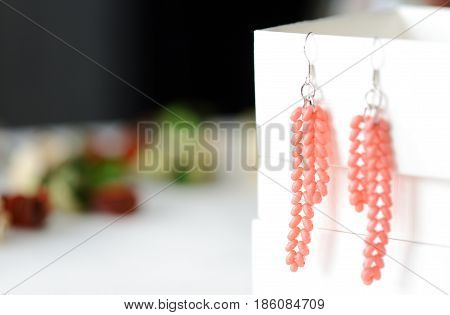 Handmade Beaded Earrings Coral Color Close Up