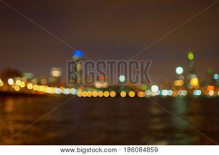 Defocused view of Chicago high-rise buildings