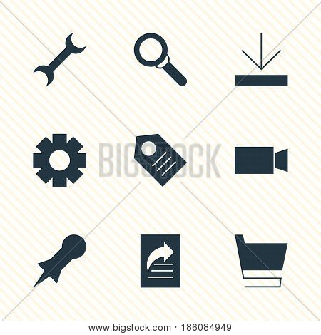 Vector Illustration Of 9 Online Icons. Editable Pack Of Upload, Thumbtack, Trolley And Other Elements.