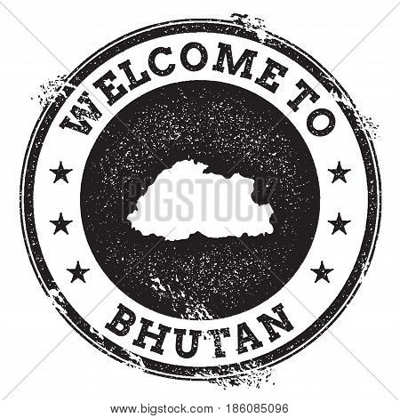 Vintage Passport Welcome Stamp With Bhutan Map. Grunge Rubber Stamp With Welcome To Bhutan Text, Vec