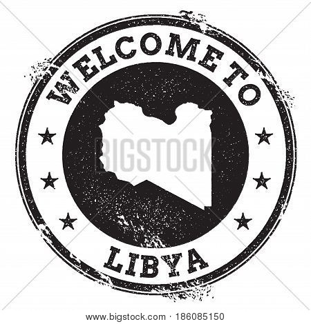 Vintage Passport Welcome Stamp With Libya Map. Grunge Rubber Stamp With Welcome To Libya Text, Vecto