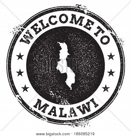 Vintage Passport Welcome Stamp With Malawi Map. Grunge Rubber Stamp With Welcome To Malawi Text, Vec