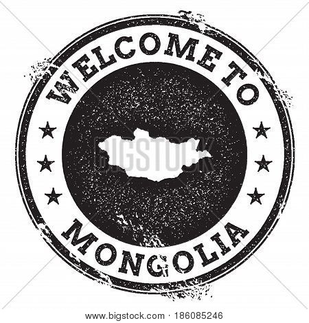 Vintage Passport Welcome Stamp With Mongolia Map. Grunge Rubber Stamp With Welcome To Mongolia Text,