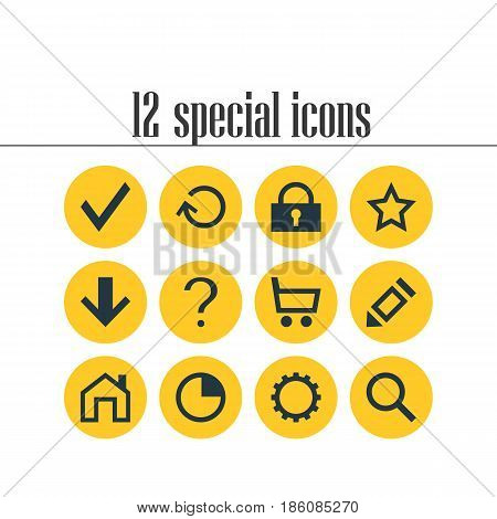 Vector Illustration Of 12 Member Icons. Editable Pack Of Asterisk, Downward, Help And Other Elements.
