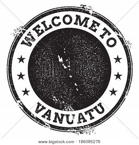 Vintage Passport Welcome Stamp With Vanuatu Map. Grunge Rubber Stamp With Welcome To Vanuatu Text, V