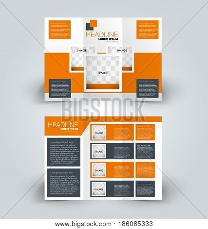 Brochure mock up design template for business, education, advertisement. Trifold booklet editable printable vector illustration. Orange and grey color.