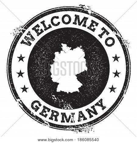 Vintage Passport Welcome Stamp With Germany Map. Grunge Rubber Stamp With Welcome To Germany Text, V