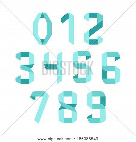 Paper folded numbers in origami style. Modern geometric font numerals. Vector illustration.