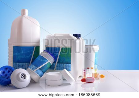 Chemical Cleaning Products For Pool With Blue Background