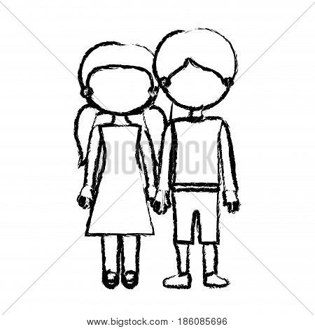 blurred black contour faceless couple girl with pigtails hair and boy in casual clothing and taken hands vector illustration