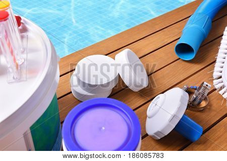 Chemical Products And Tools For Pool Maintenance Elevated View