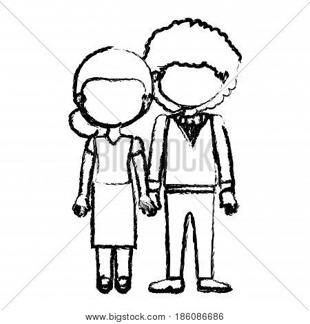 blurred black contour faceless couple woman with collected hair and curly man with bowtie and taken hands vector illustration